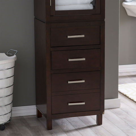 Image of Espresso Wood Linen Tower Bathroom Storage Cabinet with Glass Paneled Door