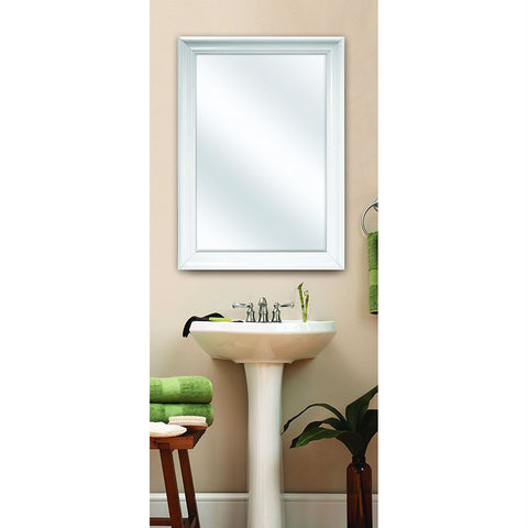 Image of Large Rectangular Bathroom Wall Hanging Mirror with White Frame - 42 x 30 inch