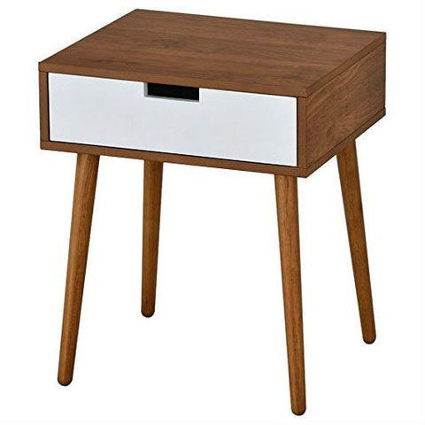 Modern Mid-Classic End Table Nightstand in Light Walnut and White