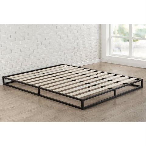 Image of King 6-inch Low Profile Metal Platform Bed Frame with Wooden Support Slats