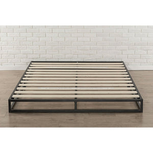 King 6-inch Low Profile Metal Platform Bed Frame with Wooden Support Slats