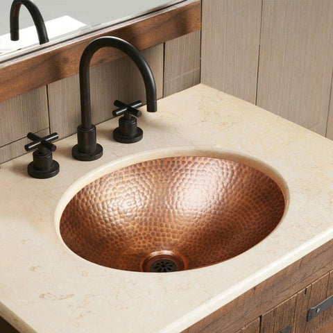 Image of Hammered Copper Oval Bathroom Sink Vessel 17 x 13 inch