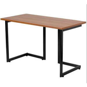 Modern Black Metal Frame Computer Desk with Cherry Wood Finish Top