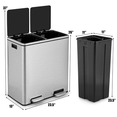 Image of Modern Dual Compartment 16-Gallon Trash Can Recycle Bin with Step Pedal Design