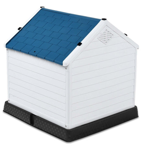 Image of Medium size Dog House Outdoor White Blue Plastic with Elevated Floor