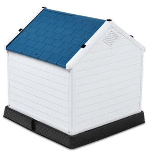 Medium size Dog House Outdoor White Blue Plastic with Elevated Floor