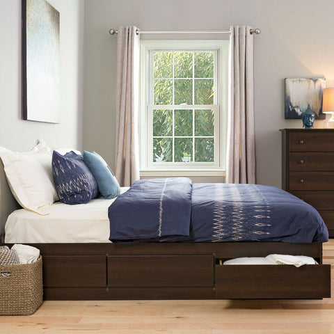 Image of King size Modern Espresso Platform Bed Frame with 6 Storage Drawers