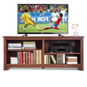 Medium Brown Wood TV Stand Entertainment Center for up to 60-inch TV
