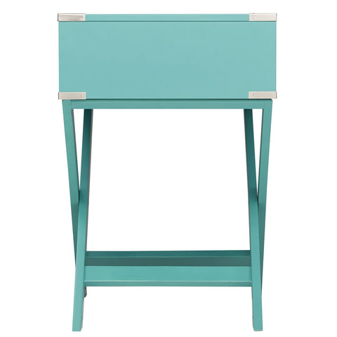 Image of Marine Green Turquoise 1-Drawer Modern End Table Nightstand