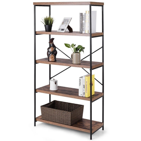Industrial Metal Wood 5-Tier Bookcase Storage Rack Book Shelf