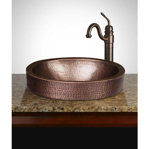 Image of Oval Hammered Copper Bathroom Sink Drop-in or Vessel