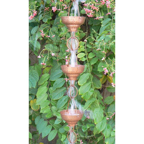 Image of Pure Copper 8.5-Ft Rain Chain with 13 Hammered Funnel Shape Cups