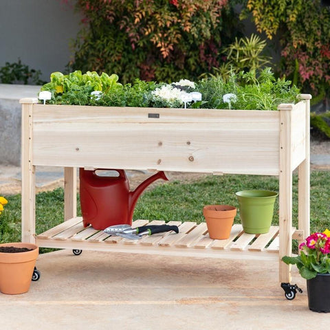Image of Solid Wood Locking Wheels Raised Mobile Garden Wood Planter Elevated Planter