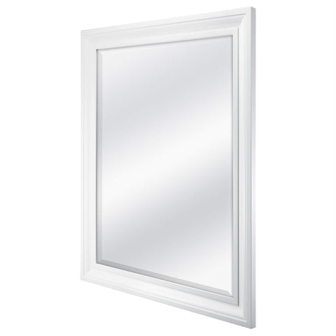 Image of Rectangular 32 x 26 inch Bathroom Wall Mirror with 1-inch Bevel and White Frame