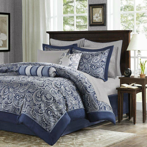 Image of Queen size 12-piece Reversible Cotton Comforter Set in Navy Blue and White