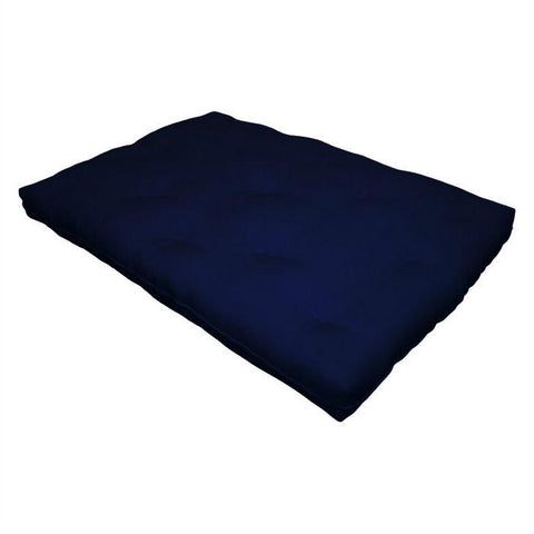 Full size 8-inch Thick Cotton Poly Futon Mattress in Navy Blue