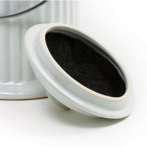 Image of White Ceramic Compost Keeper/Bin with Odor Preventing Charcoal Filter