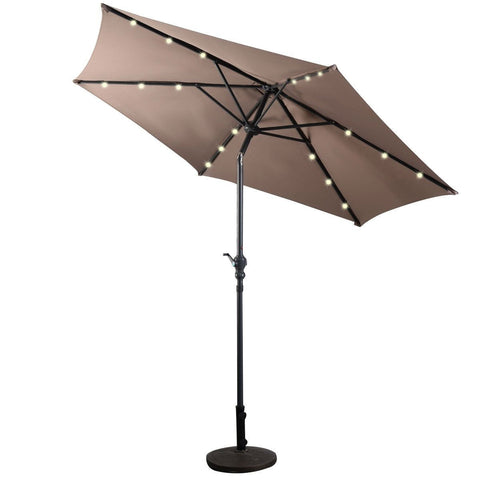Image of Tan 9-Ft Patio Umbrella with Steel Pole Crank Tilt and Solar LED Lights