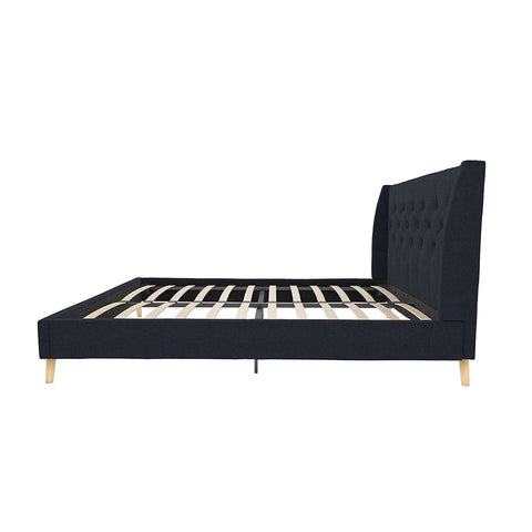 Image of Full size Navy Blue Linen Upholstered Mid-Century Modern Wingback Platform Bed