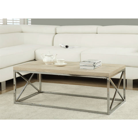 Image of Modern Rectangular Coffee Table with Natural Wood Top and Metal Legs