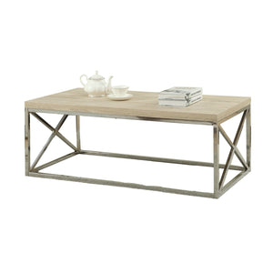 Modern Rectangular Coffee Table with Natural Wood Top and Metal Legs