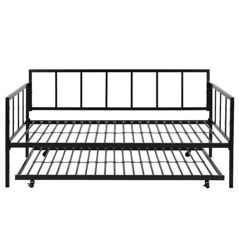 Image of Twin size Heavy Duty Metal Daybed with Roll-Out Trundle Bed