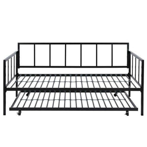 Twin size Heavy Duty Metal Daybed with Roll-Out Trundle Bed