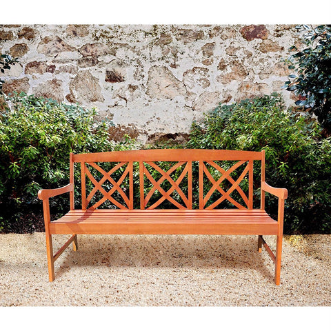 Image of Outdoor Weather Resistant Eucalyptus Wood 5-ft Garden Bench