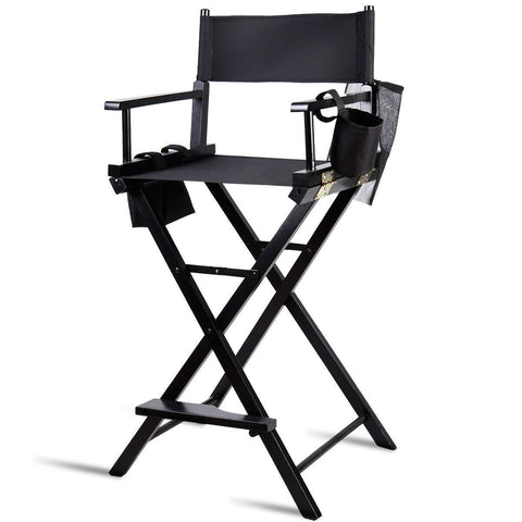 Image of Outdoor Patio Folding Directors Chair with Foot Rest and Drink Holder in Black