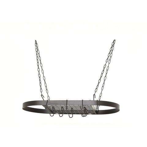 Oval Hanging Pot Rack with Chains and 2 Hooks in Matte Black