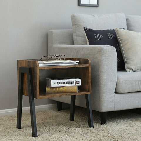 Image of Modern Stacking Open Shelf Nightstand End Table in Medium Brown Wood Finish