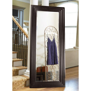 Oversized Full Length Floor Mirror with Espresso Wood Frame