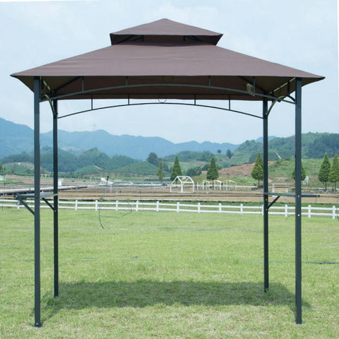 Image of 8-Ft x 5-Ft Steel Frame Outdoor Grill Gazebo with Vent Top Canopy