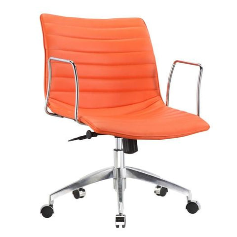 Orange Modern Mid-Back Office Chair Mid-Century Style with Metal Arms