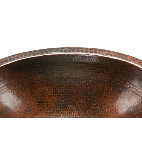 Image of Oval Hammered Copper Bathroom Vessel Sink 17 x 12 inch