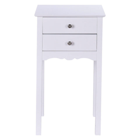 Image of Elegant 2-Drawer End Table Nightstand Side Table in White Wood Finish