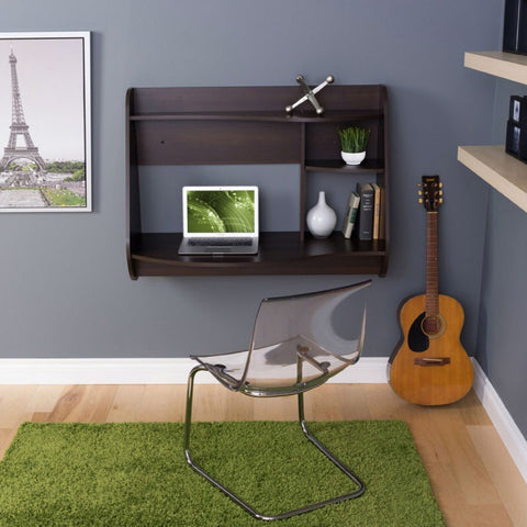 Image of Espresso Wall-Mount Modern Floating Desk for Laptop Computer or Tablet