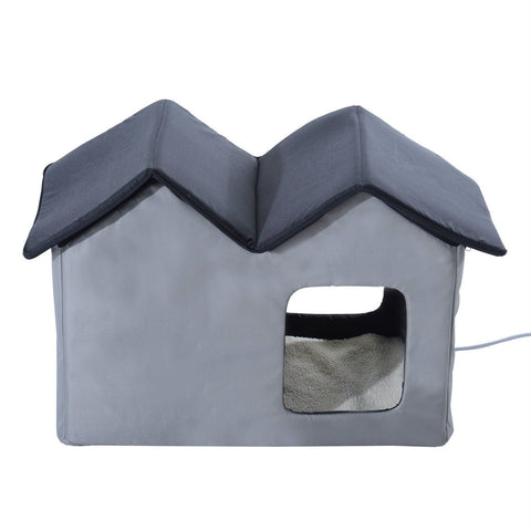 Image of Heated Water-proof Double Wide Outdoor Cat Dog House Foldable Grey