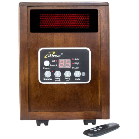 Image of Infrared Space Heater 1500W with Remote w/ Dark Walnut Wood Cabinet