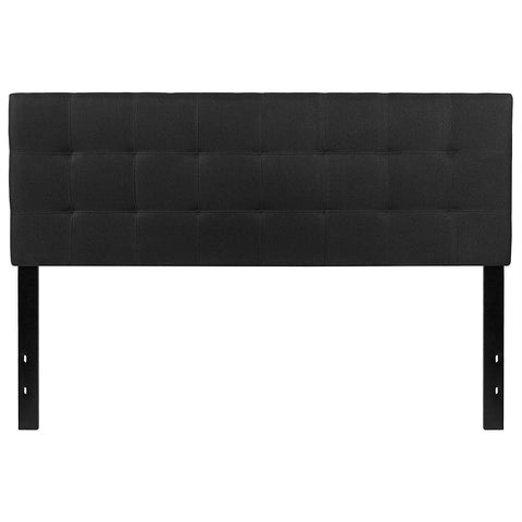 Image of Queen size Modern Black Fabric Upholstered Panel Headboard