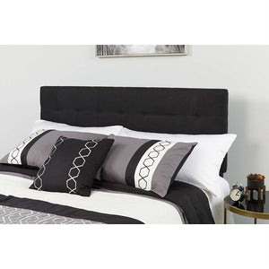 Queen size Modern Black Fabric Upholstered Panel Headboard