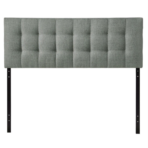Image of King size Grey Fabric Upholstered Headboard with Modern Tufting