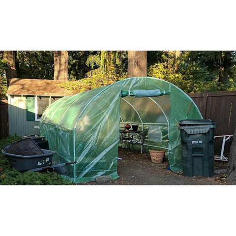 Image of Greenhouse Kit 10 x 20 Ft with Heavy Duty Steel Frame and Green PE Cover