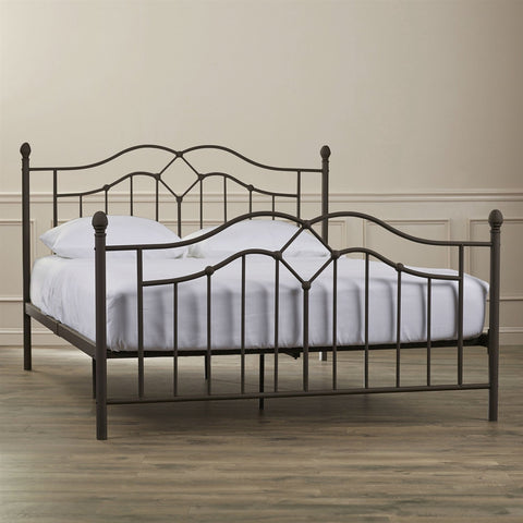 Image of Queen size Brushed Bronze Metal Bed with Headboard and Footboard