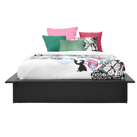 Image of Queen Modern Black Faux Leather Platform Bed Frame with Wood Slats