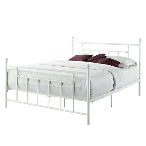 Image of Queen size White Metal Platform Bed Frame with Headboard and Footboard