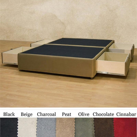 Image of Queen size Charcoal Microfiber Upholstered Platform Bed with 4 Storage Drawers