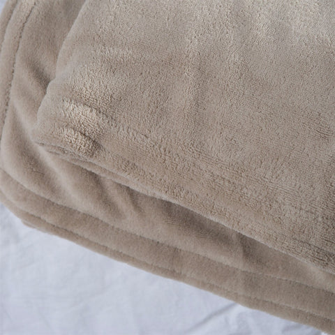 Image of Queen size Soft Beige Linen Microplush Warming Electric Blanket with Digital Controller