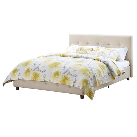 Image of Queen Tan Linen Upholstered Platform Bed Frame with Button Tufted Headboard