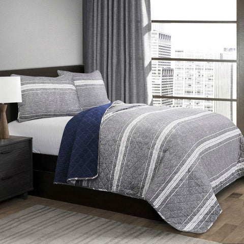 Image of Queen Gray Navy Stripe Motif 100% Cotton Reversible Quilt Coverlet Bedspread Set
